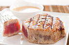 Charcoal-Grilled Tuna Steaks with Red Wine Vinegar and Mustard Vinaigrette