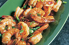 Stir-Fried Shrimp, Asparagus, and Yellow Pepper in Lemon Sauce