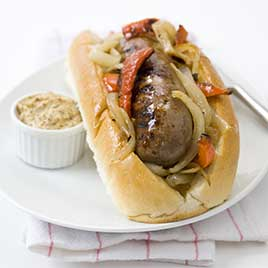 Charcoal-Grilled Sausages with Onions