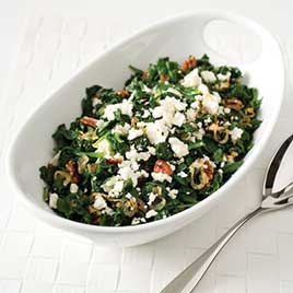 Sauteed Spinach with Pecans and Feta